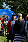 Stamford, Lincolnshire, United Kingdom, 8th September 2019, HRH The Countess of Wessex and Lady Louise Windsor talking to Emma Egging whilst visiting the John Egging Trust stand at the 2019 Land Rover Burghley Horse Trials, Credit: Jonathan Clarke/JPC Images