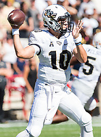 College Park, MD - SEPT 23, 2017: UCF Knights quarterback McKenzie Milton (10) drops back to pass during game between Maryland and UCF at Capital One Field at Maryland Stadium in College Park, MD. (Photo by Phil Peters/Media Images International)