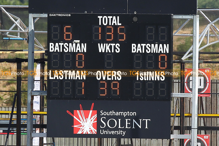 The final scoreboard shows that Essex have been bowled out for 135 runs in their second innings - Hampshire CCC vs Essex CCC - LV County Championship Division Two Cricket at the Ageas Bowl, West End, Southampton - 17/06/14 - MANDATORY CREDIT: Gavin Ellis/TGSPHOTO - Self billing applies where appropriate - 0845 094 6026 - contact@tgsphoto.co.uk - NO UNPAID USE