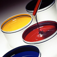 Printer Inks in primary colors - red, yellow blue.