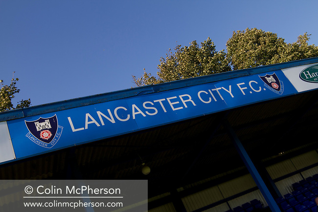 The main stand at Lancaster City's Giant Axe ground prior to the club's FA Cup third qualifying round match against FC Halifax Town. The visitors, who play two leagues above their hosts in the English football pyramid, won the ties by three goals to nil, watched by a crowd of 646 spectators. Lancaster City were celebrating their centenary in 2011, although there was a dispute over the exact founding date over the club known as Dolly Blue.