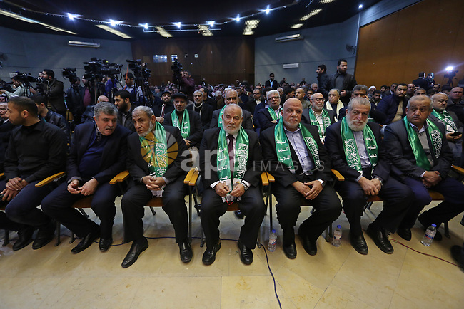 Leaders of Hamas movement  take part in a memorial service for Hamas senior leader Imad al-Alami in Gaza City, 03 February 2018. According to reports, al-Alami was died on 30 January due a shot in the head he reportedly sustained while cleaning his weapon in Gaza.. Photo by Ashraf Amra