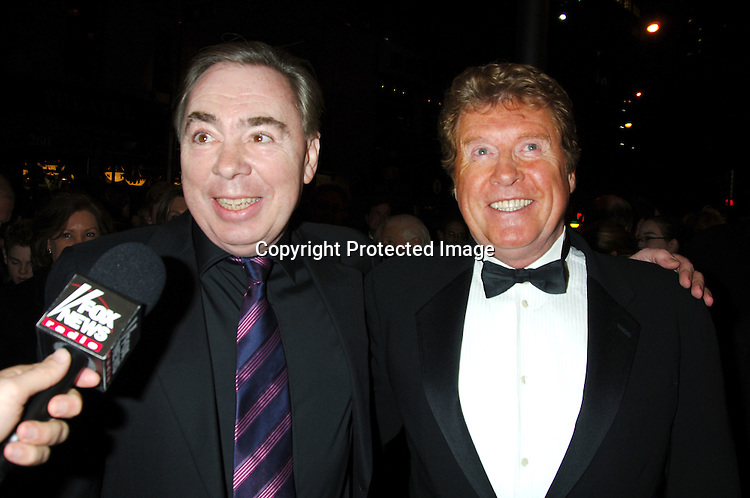 """Andrew Lloyd Webber and Michael Crawford ..at The 7,486th performance of """" The Phantom of the     Opera"""" on Broadway, when it became the Longest-Running Show in Broadway History on January 9, 2006 at The Majestic Theatre. ..Photo by Robin Platzer, Twin Images"""
