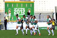 SÃO PAULO, SP, 10 DE JUNHO DE 2012 - FINAL DA COPA DO BRASIL DE FUTEBOL FEMININO: Maurine (c) comemora gol da equipe do Centro Olimpico durante partida São José E.C. x Centro Olimpico, válida pela Final da Copa do Brasil de Futebol Feminino em jogo realizado na manhã deste <br /> <br /> domingo (10) no Estádio do Pacaembú. FOTO: LEVI BIANCO - BRAZIL PHOTO PRESS