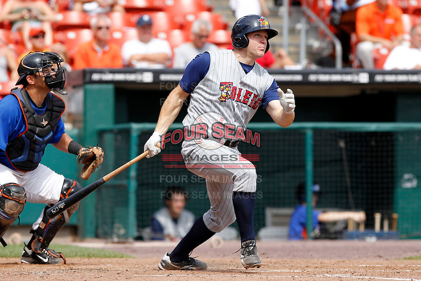 Toledo Mudhens designated hitter Scott Thorman #50 during a game against the Buffalo Bisons at Coca-Cola Field on August 17, 2011 in Buffalo, New York.  Buffalo defeated Toledo 4-2.  (Mike Janes/Four Seam Images)