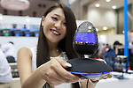 An exhibitor shows a floating Bluetooth speaker at the Tokyo Gift Show exhibition on September 7, 2016, Tokyo, Japan. The 82nd Tokyo International Gift Show Autumn 2016 exhibition introduced Japanese and international goods from 2,729 companies, 686 of which came from 19 different countries outside of Japan, over three days from September 7th to 9th at Tokyo Big Sight. (Photo by Rodrigo Reyes Marin/AFLO)