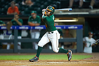 Johnny Ruiz (4) of the Miami Hurricanes follows through on his swing against the North Carolina Tar Heels in the second semifinal of the 2017 ACC Baseball Championship at Louisville Slugger Field on May 27, 2017 in Louisville, Kentucky. The Tar Heels defeated the Hurricanes 12-4. (Brian Westerholt/Four Seam Images)