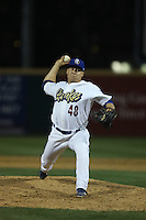 Karch Kowalczyk (48) of the Rancho Cucamonga Quakes pitches during a game against the High Desert Mavericks at LoanMart Field on August 18, 2015 in Rancho Cucamonga, California. High Desert defeated Rancho Cucamonga, 4-0. (Larry Goren/Four Seam Images)