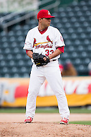 Richard Castillo #33 of the Springfield Cardinals stands on the mound during a game against the Tulsa Drillers at Hammons Field on May 4, 2013 in Springfield, Missouri. (David Welker/Four Seam Images)