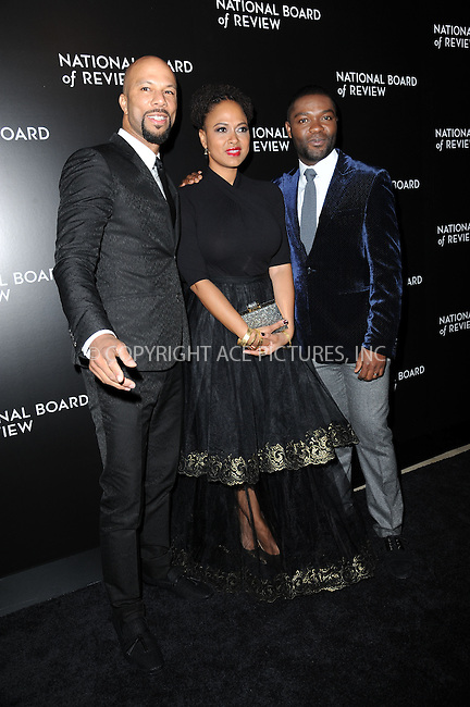 WWW.ACEPIXS.COM<br /> January 6, 2015 New York City<br /> <br /> Common, Ava DuVernay, David Oyelowo attending the 2014 National Board of Review Gala at Cipriani 42nd Street on January 6, 2015 in New York City.<br /> <br /> Please byline: Kristin Callahan/AcePictures<br /> <br /> ACEPIXS.COM<br /> <br /> Tel: (212) 243 8787 or (646) 769 0430<br /> e-mail: info@acepixs.com<br /> web: http://www.acepixs.com