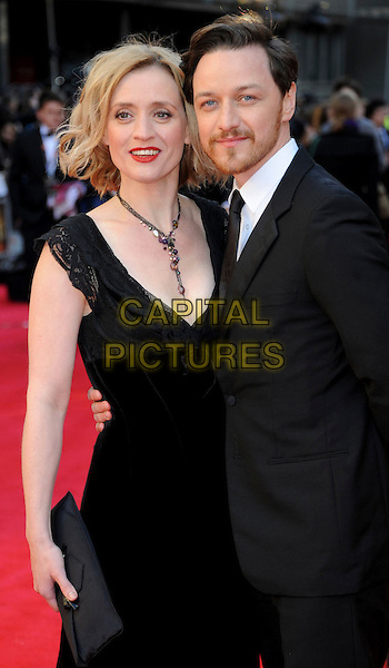 Anne Marie Duff & James McAvoy .The Olivier Awards 2012, Royal Opera House, Covent Garden, London, England..April 15th, 2012.half length married husband wife black white suit dress necklace clutch bag facial hair beard.CAP/WIZ.© Wizard/Capital Pictures.