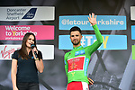 Nacer Bouhanni (FRA) Cofidis Solution Cr&eacute;dit in the green jersey at sign on before the start of Stage 3 of the Tour de Yorkshire 2017 running 194.5km from Bradford/Fox Valley to Sheffield, England. 30th April 2017. <br /> Picture: ASO/P.Ballet | Cyclefile<br /> <br /> <br /> All photos usage must carry mandatory copyright credit (&copy; Cyclefile | ASO/P.Ballet)