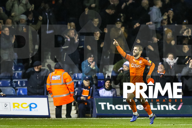 Elliot Lee of Luton Town celebrates making it 2-0 during the Sky Bet League 1 match between Luton Town and Bradford City at Kenilworth Road, Luton, England on 27 November 2018. Photo by Thomas Gadd.