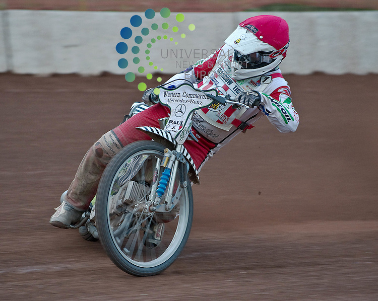 Speedway veteran Joe Screen (38) from Chesterfield and Captain of the Glasgow Tigers. Screen scored the vital race win that allowed  Glasgow went on to win the meeting and clinch their first Premier League title in 17 years, on 9 October 2011, Picture: Al Goold/Universal News and Sport (Europe) 2011.