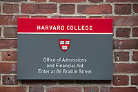 A sign for the Office of Admissions and Financial Aid for Harvard College, the undergraduate school at Harvard University, is seen at Harvard University in Cambridge, Massachusetts, USA, on Mon., Oct 15, 2018.