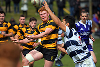 Tom Florence's pass is intercepted during the rugby match between Taranaki and Auckland Development in the Jock Hobbs Memorial Under-19 Rugby Tournament at Owen Delaney Park in Taupo, New Zealand on Wednesday, 13 September 2012. Photo: Dave Lintott / lintottphoto.co.nz