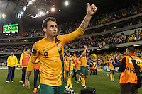 MELBOURNE, 11 JUNE 2013 - Luke WILKSHIRE of Australia greet the crowd after winning their Round 4 FIFA 2014 World Cup qualifier match between Australia and Jordan at Etihad Stadium, Melbourne, Australia. Photo Sydney Low for Zumapress Inc. Please visit zumapress.com for editorial licensing. *This image is NOT FOR SALE via this web site.