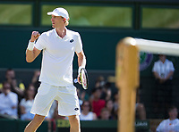 Kevin Anderson (RSA) celebrates winning a game during the Gentlemen's Singles Final against Novak Djokovic (SRB)