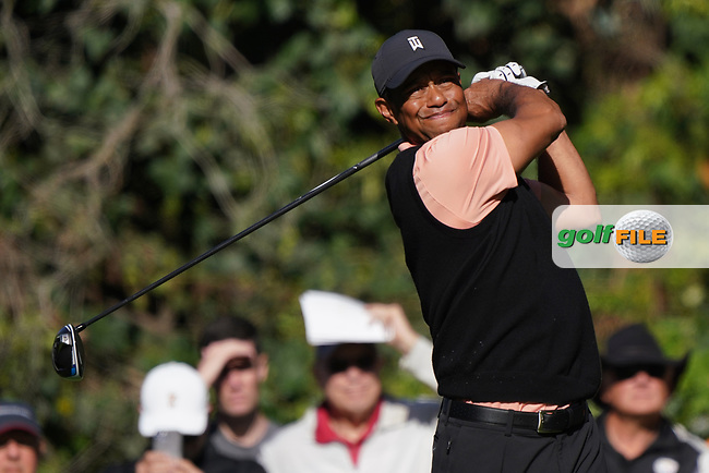Tiger Woods (USA) in action during the 1st round of The Genesis Invitational, Riviera Country Club, Pacific Palisades, Los Angeles, USA. 12/02/2020<br /> Picture: Golffile | Phil Inglis<br /> <br /> <br /> All photo usage must carry mandatory copyright credit (© Golffile | Phil Inglis)