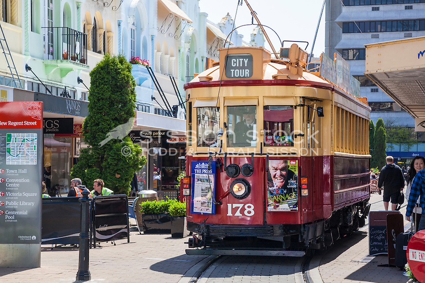 Historic Christchurch tram along New Regent Street, Canterbury, New Zealand (pre 2011 earthquake) - stock photo, canvas, fine art print
