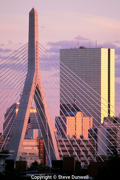 Zakim Bridge and Hancock Tower, Boston.Leonard P. Zakim Bunker Hill Bridge.Cable-stayed design