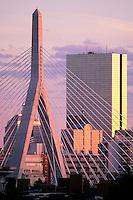 Zakim Bridge and Hancock Tower, Boston.Leonard P. Zakim Bunker Hill Bridge.Cable-stayed design