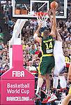 11.09.2014 Barcelona. FIBA Basketball World Cup. Semi-Finals. Picture show J. Valanciunas  in action during game Usa v Lithuania at Palau St. Jordi