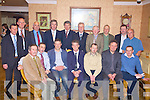 ROVERS NIGHT OUT: The Glin Rovers team of 1977 pictured at their annual social in Kirby's Lanterns Hotel on Saturday night.  Front l-r: James Dore, Ambrose Lanigan, Dave Fitzgerald, Maurice Fitzgerald, Pa McMahon, John Fitzgerald and Paul Wallace.  Back l-r: Mick Costello, Willie Moloney, John Culhane, John Delaney (CEO FAI), Conor Sheehan (chairman Glin Rovers), Brian Culhane, Donal Geoghegan, Thomas O'Shaughnessy, John A. Culhane and Joe Martin.   Copyright Kerry's Eye 2008
