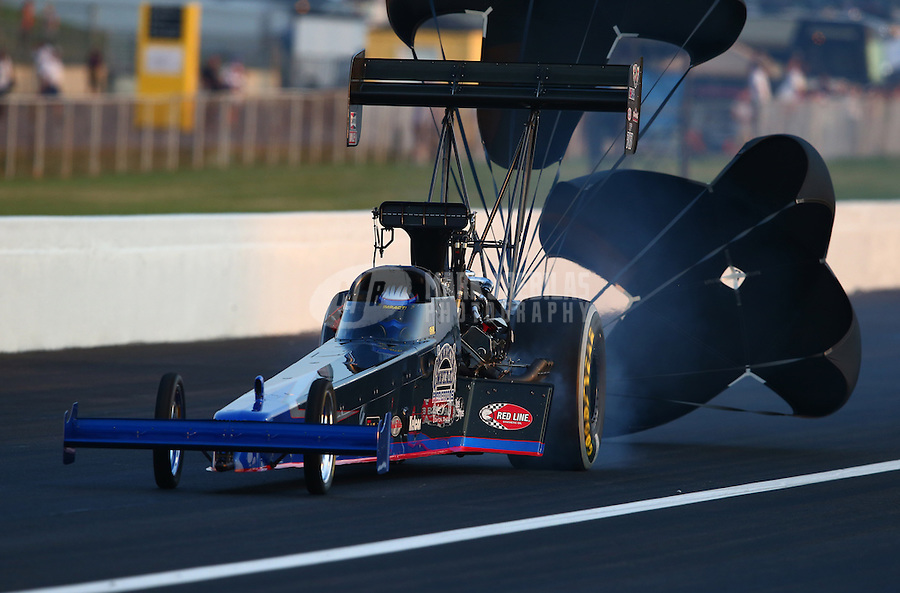 Aug. 30, 2013; Clermont, IN, USA: The car of NHRA top fuel dragster driver Pat Dakin  during qualifying for the US Nationals at Lucas Oil Raceway. Mandatory Credit: Mark J. Rebilas-