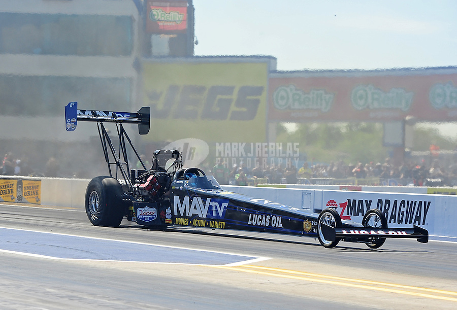 Apr. 13, 2012; Concord, NC, USA: NHRA top fuel dragster driver Brandon Bernstein during qualifying for the Four Wide Nationals at zMax Dragway. Mandatory Credit: Mark J. Rebilas-