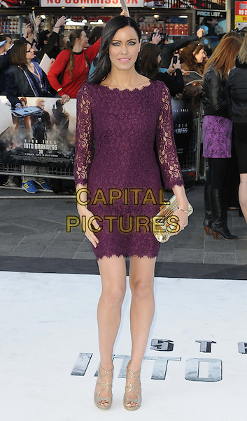 Linzi Stoppard.attended the 'Star Trek: Into Darkness 3D' UK film premiere, Empire cinema, Leicester Square, London, England, UK, .2nd May, 2013..full length purple lace dress clutch bag long sleeve gold strappy shoes sandals .CAP/CAN.©Can Nguyen/Capital Pictures.