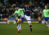9th February 2018, The Den, London, England; EFL Championship football, Millwall versus Cardiff City; Callum Paterson of Cardiff City puts pressure on Ryan Tunnicliffe of Millwall