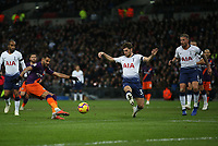 Riyad Mahrez of Manchester City with a shot on target during Tottenham Hotspur vs Manchester City, Premier League Football at Wembley Stadium on 29th October 2018