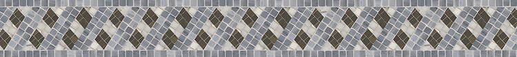 """4 1/2"""" Double Ribbon border, a hand-cut stone mosaic, shown in polished Bardiglio, Calacatta Tia, and honed Montevideo."""