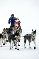 Bjornar Andersen Runs Up Bank @ Yukon River Kaltag Chkpt 2005 Iditarod