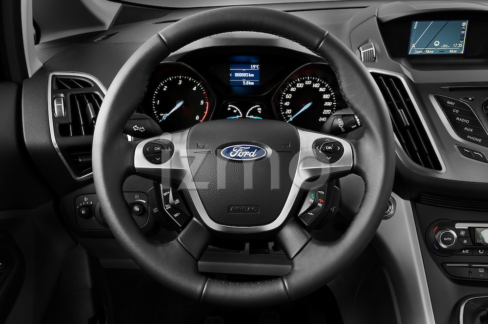 Steering wheel view of a 2011 Ford Grand C-Max Titanium Mini MPV