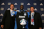 14 January 2010: Ike Opara was selected with the #3 overall pick by the San Jose Earthquakes. From left: John Doyle, Ike Opara, Frank Yallop. The 2010 MLS SuperDraft was held in the Ballroom at Pennsylvania Convention Center in Philadelphia, PA during the NSCAA Annual Convention.