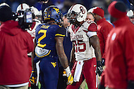 Morgantown, WV - NOV 19, 2016: West Virginia Mountaineers safety Jeremy Tyler (2) and Oklahoma Sooners running back Joe Mixon (25) get face to face as tempers flare during pre-game warm up's before game between West Virginia and Oklahoma at Mountaineer Field at Milan Puskar Stadium Morgantown, West Virginia. (Photo by Phil Peters/Media Images International)