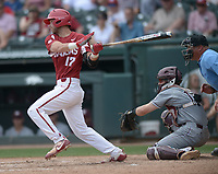 NWA Democrat-Gazette/ANDY SHUPE<br /> Arkansas Texas A&amp;M Saturday, May 12, 2018, during the inning at Baum Stadium in Fayetteville. Visit nwadg.com/photos to see more photos from the game.
