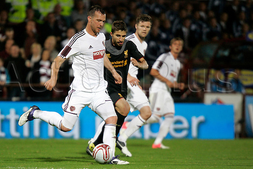 23.08.2012 Edinburgh, Scotland.  6 Andy Webster in action during the Europa League Qualifying 1st leg tie between Hearts and Liverpool from the Tynecastle Stadium. Hearts lost 0-1 to an own goal in the first leg.