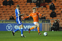 Blackpool's Connor Ronan under pressure from Gillingham's Barry Fuller<br /> <br /> Photographer Kevin Barnes/CameraSport<br /> <br /> The EFL Sky Bet League One - Blackpool v Gillingham - Tuesday 11th February 2020 - Bloomfield Road - Blackpool<br /> <br /> World Copyright © 2020 CameraSport. All rights reserved. 43 Linden Ave. Countesthorpe. Leicester. England. LE8 5PG - Tel: +44 (0) 116 277 4147 - admin@camerasport.com - www.camerasport.com