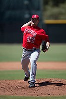 Los Angeles Angels starting pitcher Branden Pinder (36) delivers a pitch during an Extended Spring Training game against the Giants Black at the San Francisco Giants Training Complex on May 25, 2018 in Scottsdale, Arizona. (Zachary Lucy/Four Seam Images)