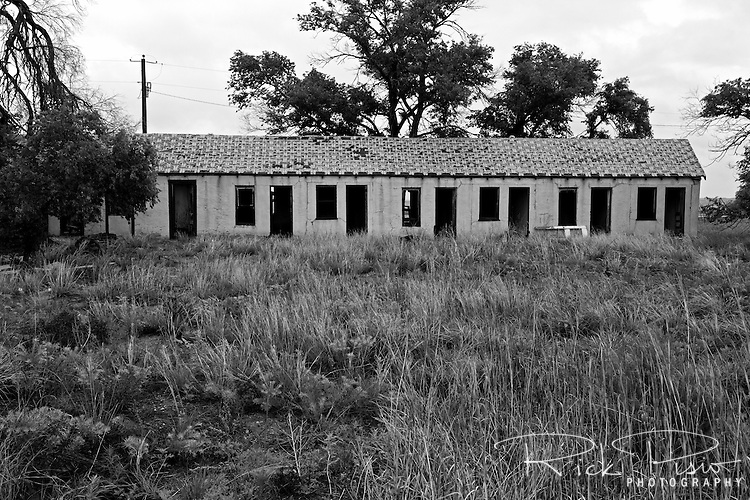 Abandoned Motel along Route 66 in Glenrio, New Mexico. Glenrio straddled the Texas-New Mexico state line and thrived through the 40's, 50's, and 60's until the Interstate bypassed the town in 1975.