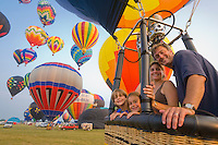 Family riding in a Hot-Air Balloon