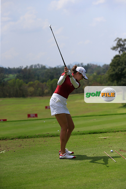 Kim Kaufman (USA) on the driving range during the Tuesday Practice Day of the Honda LPGA at the Siam Country Club Old Course in Pattaya on Tuesday 24th February 2015.<br /> Picture:  Thos Caffrey / www.golffile.ie