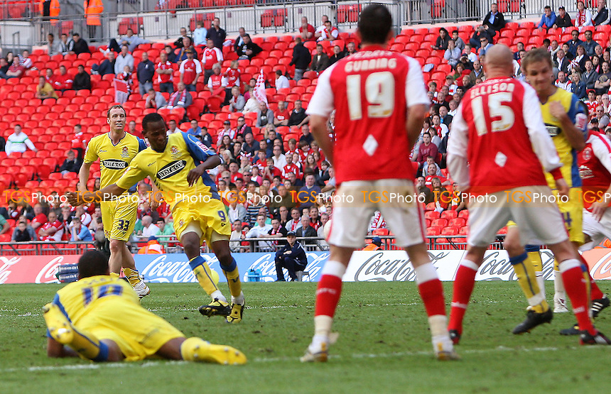 Jon Nurse of Dagenham scores the third and winning goal - Dagenham & Redbridge vs Rotherham United - Coca Cola League Two Play-Off Final at Wembley Stadium -  30/05/10 - MANDATORY CREDIT: Gavin Ellis/TGSPHOTO - Self billing applies where appropriate - Tel: 0845 094 6026
