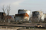 Buncefield Oil Depot Blast Disater happened on December 11, 2005. Pictured here one year on. Hemel Hempstead, UK. December 6, 2006..Copyright Photo: Helen Atkinson +44 7976 265253
