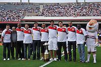 SÃO PAULO, SP, 17 DE JUNHO DE 2012 - CAMPEONATO BRASILEIRO - SÃO PAULO x ATLÉTICO MG: Time do São Paulo de 1992 participa de homenagem  lembrando os 20 anos da conquista da Libertadores de 1992 durante partida São Paulo x Atlético Mineiro, válida pela 5ª rodada do Campeonato Brasileiro de 2012 no Estádio do Morumbi. FOTO: LEVI BIANCO - BRAZIL PHOTO PRESS