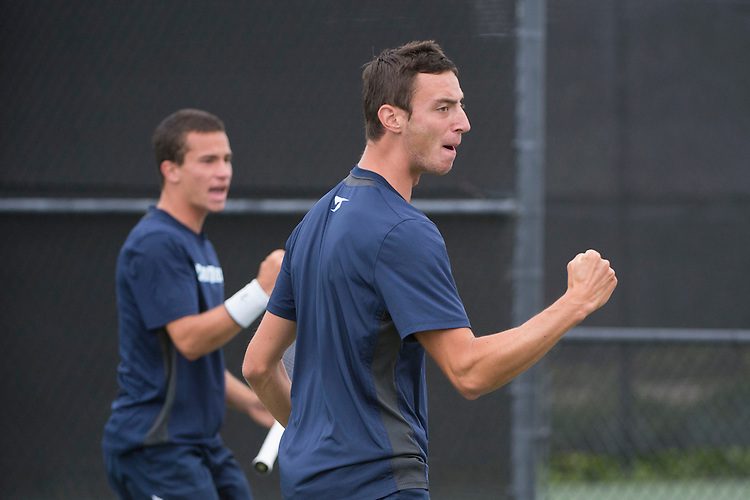 April 25, 2014; San Diego, CA, USA; San Diego Toreros player Romain Kalaydjian (front) and Uros Petronijevic (back) during the WCC Tennis Championships at Barnes Tennis Center.