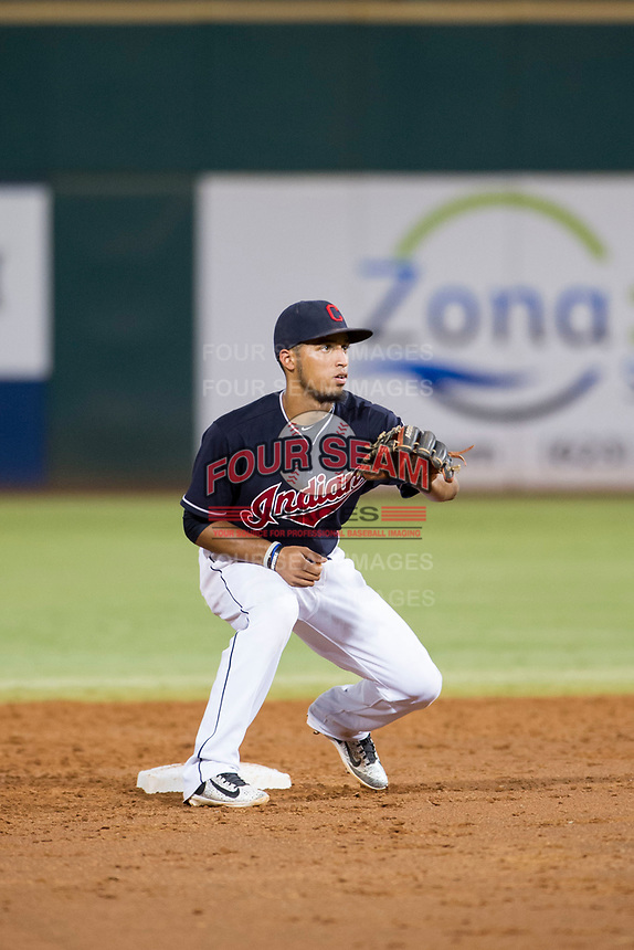 AZL Indians second baseman Jose Fermin (13) on defense against the AZL Rangers on August 26, 2017 at Goodyear Ball Park in Goodyear, Arizona. AZL Indians defeated the AZL Rangers 5-3. (Zachary Lucy/Four Seam Images)